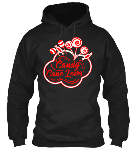 Candy Cane Lover Cute Peppermint Holiday Black T-Shirt Front