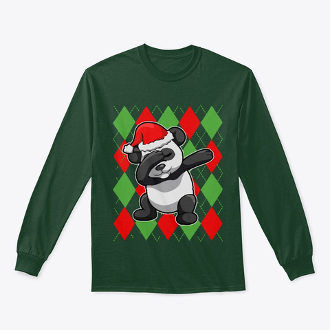 Christmas Panda Bear Dab Forest Green T-Shirt Front