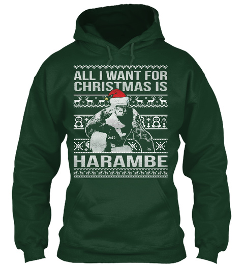 Christmas Is Harambe Sweater Women Forest Green T-Shirt Front