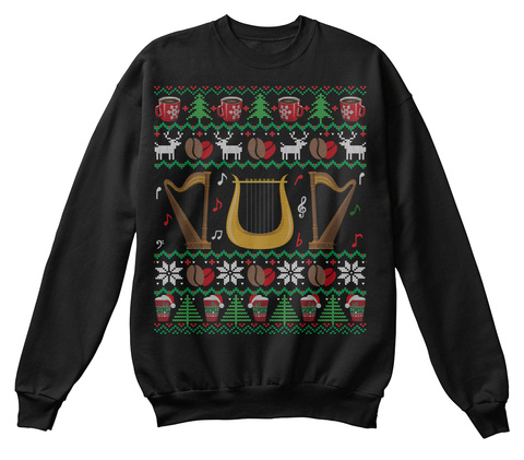 Coffee Harp Ugly Christmas Sweater Gifts Black T-Shirt Front