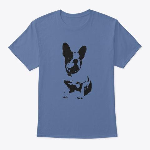 French Bulldog Tee Hoodie Poster Mug Denim Blue T-Shirt Front