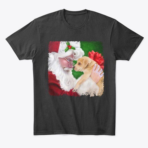 Cute Christmas Puppy With Santa  Black T-Shirt Front