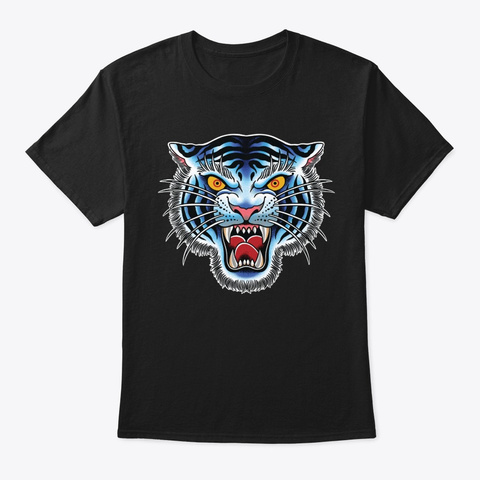 Bold White Tiger Head Variant Black T-Shirt Front