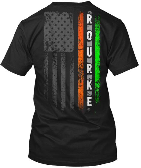 Rourke Family: Irish American Flag Black T-Shirt Back