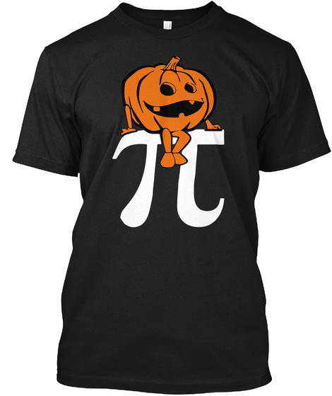 Halloween Pumpkin Pi Math Black T-Shirt Front