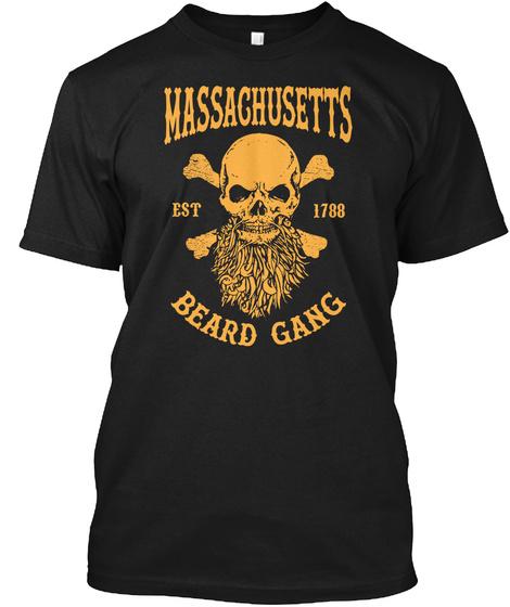 Massaghusetts Est 1788 Beard Gang Black T-Shirt Front