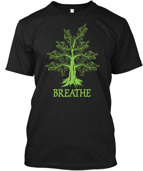 Life Breathing Meditation Yoga Black T-Shirt Front