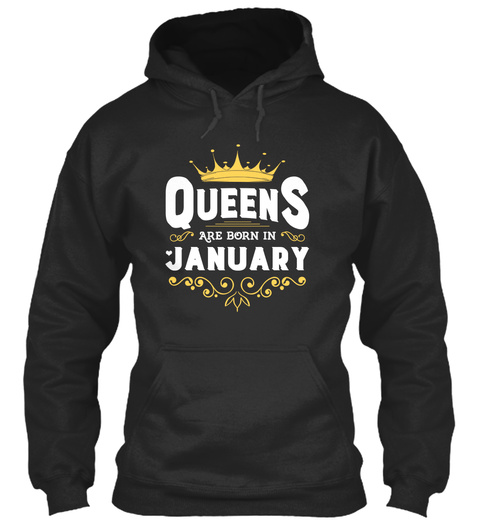 Queens Are Born In January Jet Black T-Shirt Front