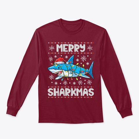 Mery Sharkmas Shark Santa Ugly Christmas Cardinal Red T-Shirt Front