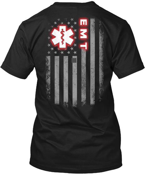 E M T Black T-Shirt Back