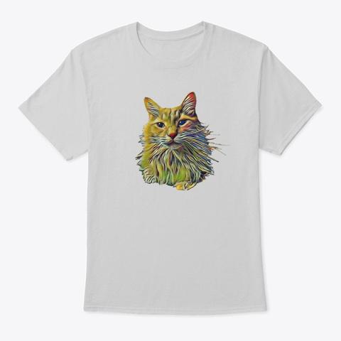 Painted Cat Art Light Steel T-Shirt Front