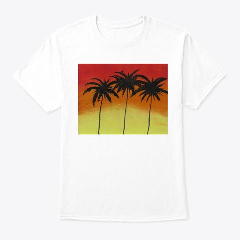 Palm Tree Sunset White T-Shirt Front