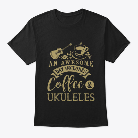 An Awesome Day Includes Coffee And Black T-Shirt Front