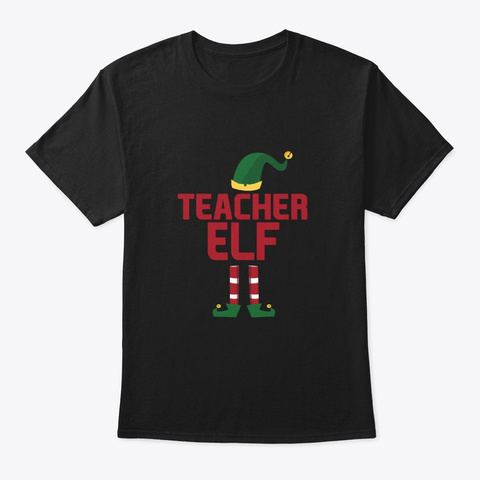 Teacher Elf Christmas Matching Pajama  Black T-Shirt Front