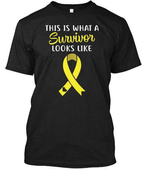 Yellow Survivor Look Like Tshirt Black T-Shirt Front