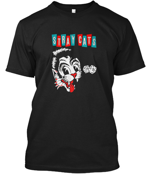 Stray Cats Black T-Shirt Front