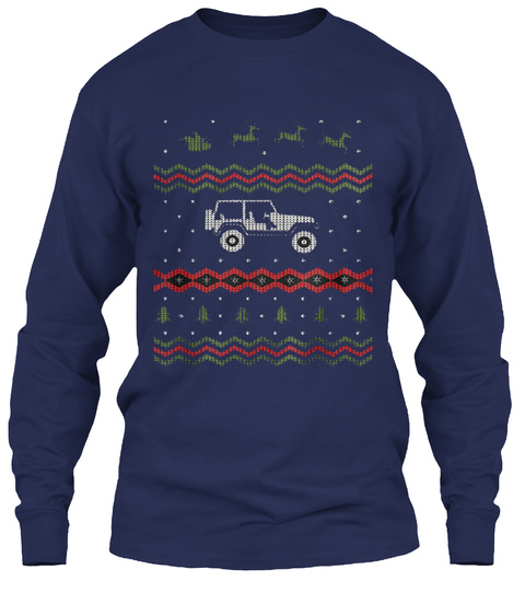 Jk Ugly Christmas Sweater Design Navy T-Shirt Front