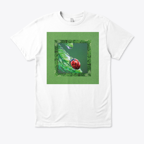 Droplet And Ladybug Grow Plants White T-Shirt Front