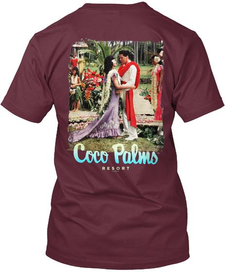 Coco Palms™ Blue Hawaii Commemorative  Maroon T-Shirt Back