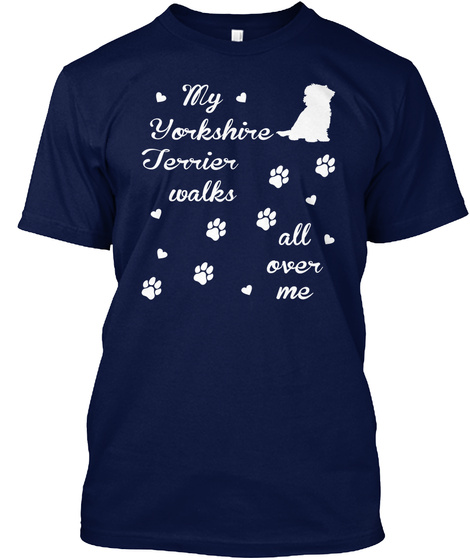 Yorkshire Terrier Navy T-Shirt Front