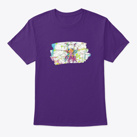 Colorful Spider Art Painting Tarantula Purple T-Shirt Front