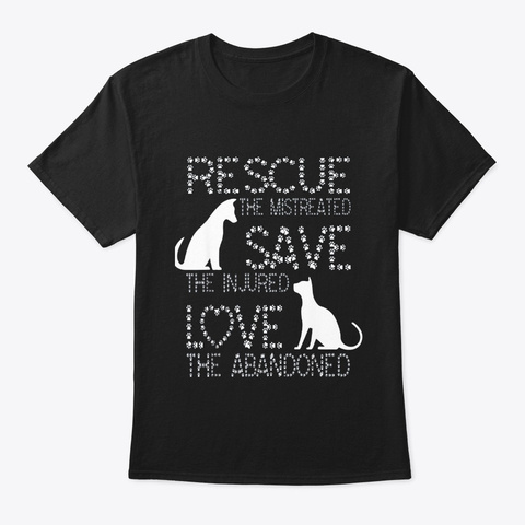 Rescue Save Love Animal Rescue Dog Lover Black T-Shirt Front