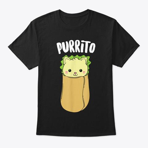 Purrito  Kawaii Cat Rolled Burrito Addic Black T-Shirt Front