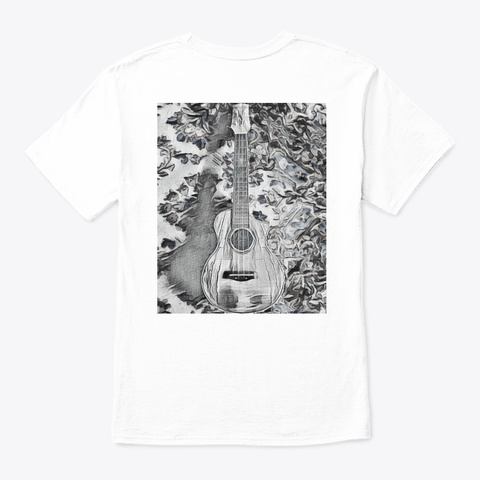 Fitted Black And White Hh Uke  White T-Shirt Back
