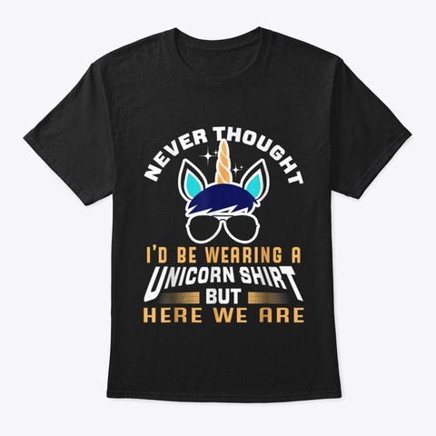 Funny Unicorn T Shirt For Papa Dad Black T-Shirt Front
