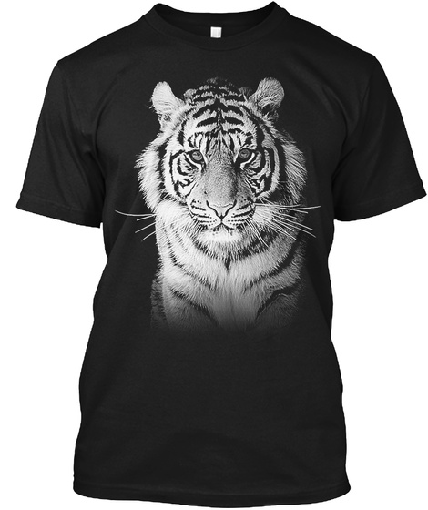 White Tiger T Shirt Black T-Shirt Front
