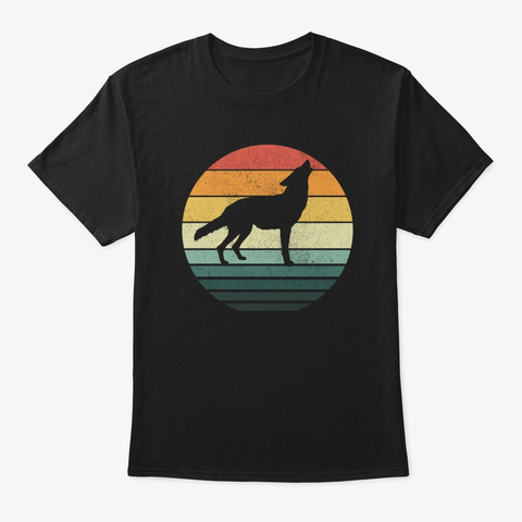 Coyote Sunset Retro Vintage 70s Animal Black T-Shirt Front
