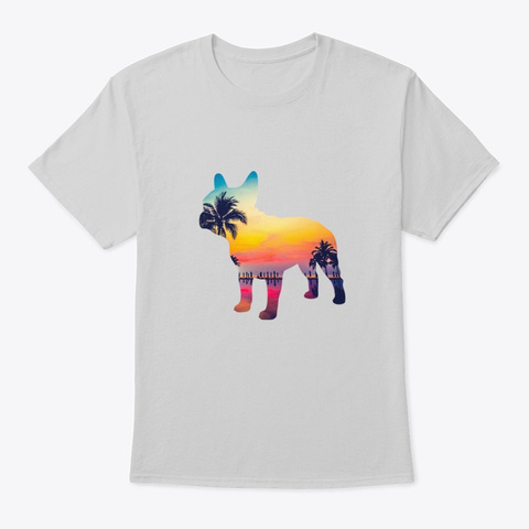 French Bulldog Sunset Beach Design Light Steel T-Shirt Front