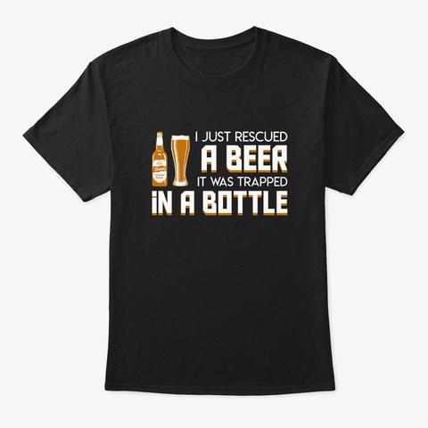 Beer Trapped Bottle Beer Drinking Shirt Black T-Shirt Front