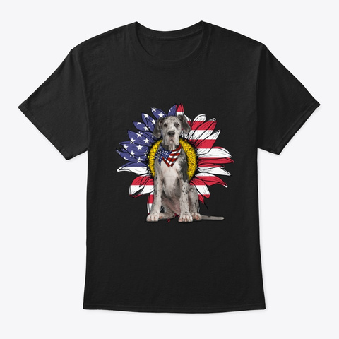 Sunflower American Flag Great Dane Dog Black T-Shirt Front