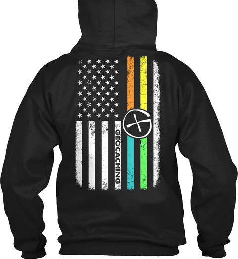 Geocaching Flag Black T-Shirt Back