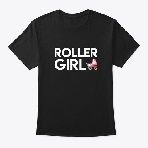 Roller Girl Unicorn Design Graphic Shirt Black T-Shirt Front