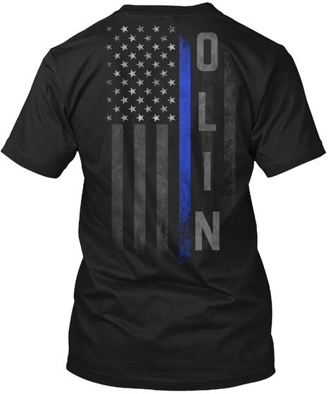 Olin Family Thin Blue Line Flag Black T-Shirt Back