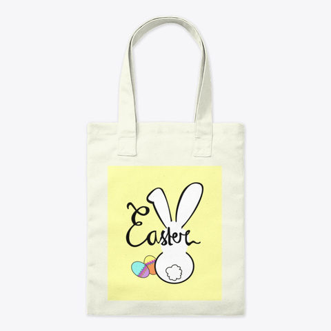 Easter Bunny Tote Bag (Yellow) Natural Tote Bag Front