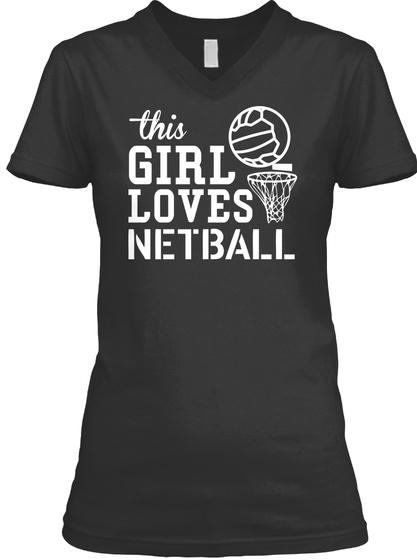 This Girl Loves Netball Black T-Shirt Front