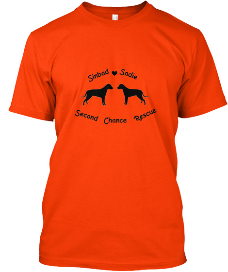 Sinbad Sadie Second Chance Rescue Orange T-Shirt Front