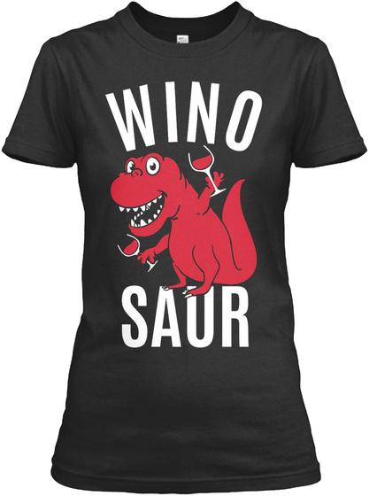 Wino Saur Black Kaos Wanita Front