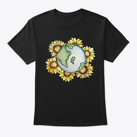 Sunflower Earth Day Art Climate Strike Black T-Shirt Front