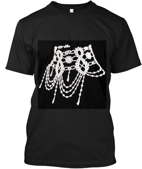 Pearl White Seed Beaded Grand Victorian Black T-Shirt Front