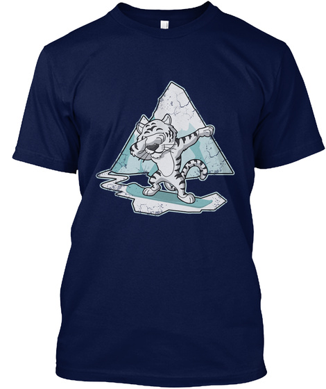 Dabbing White Tiger Snowboarding Adult  Navy T-Shirt Front