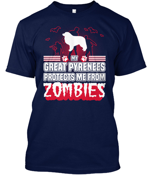 Great Pyrenees Navy T-Shirt Front