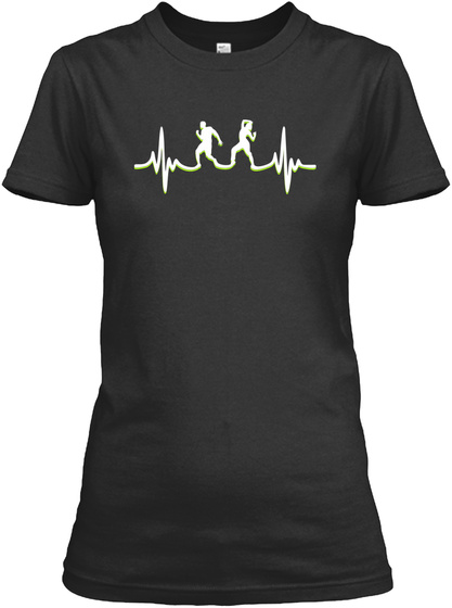 Fitness Dancing Heartbeat Black T-Shirt Front