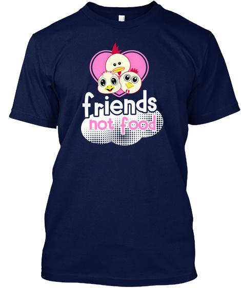 Friends Not Food Navy T-Shirt Front