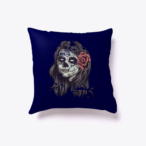 Funny Sugar Skull Lady  Pillow Dark Navy T-Shirt Front
