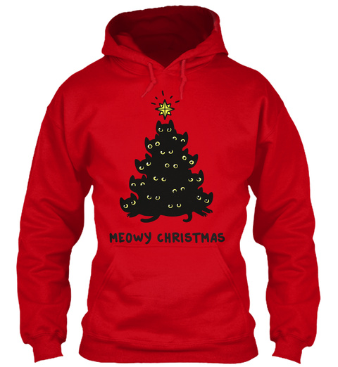 Meowy Christmas Red Sweatshirt Front