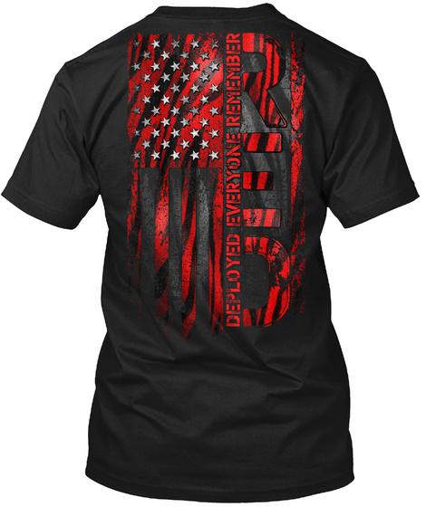 Red Remember Everyone Deployed Black T-Shirt Back